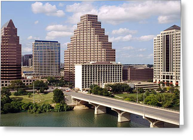 Frost Bank Building Greeting Cards - Buildings In A City, Town Lake, Austin Greeting Card by Panoramic Images