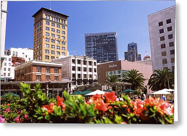 Union Square Photographs Greeting Cards - Buildings In A City, Union Square, San Greeting Card by Panoramic Images