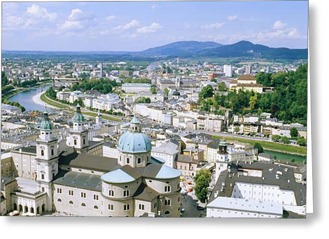 Salzburg Greeting Cards - Buildings In A City, View Greeting Card by Panoramic Images