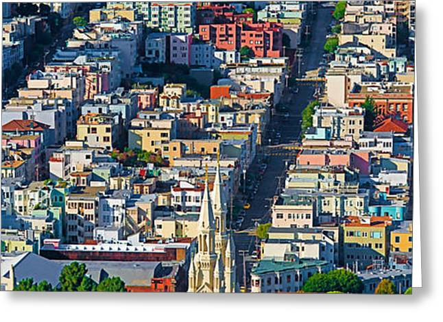 Coit Tower Greeting Cards - Buildings In A City Viewed Greeting Card by Panoramic Images