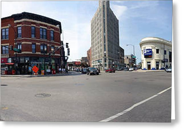 Traffic Greeting Cards - Buildings In A City, Wicker Park Greeting Card by Panoramic Images