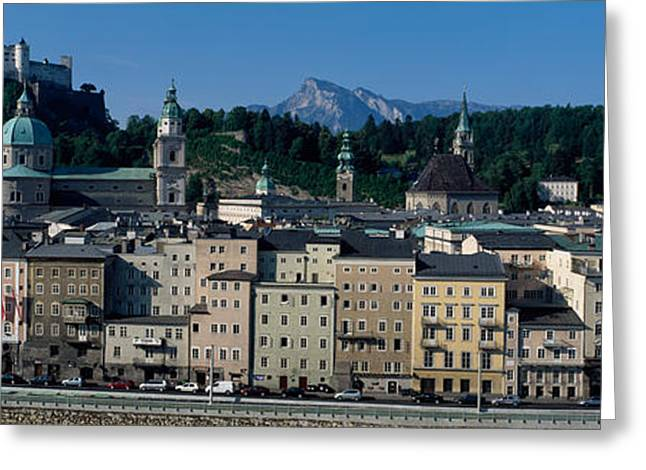 Castle On Mountain Greeting Cards - Buildings In A City With A Fortress Greeting Card by Panoramic Images