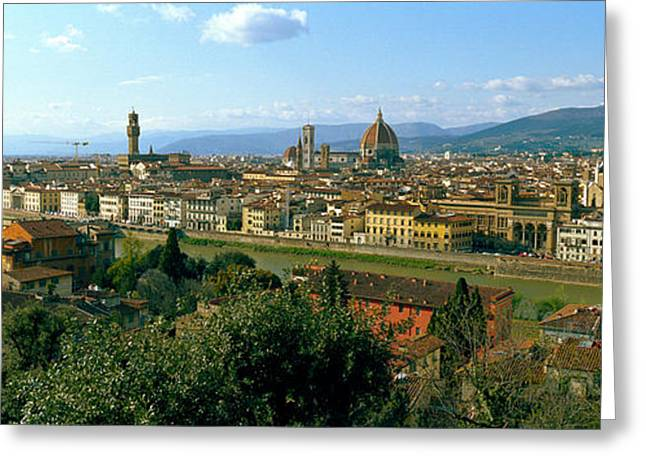 Florence Greeting Cards - Buildings In A City With Florence Greeting Card by Panoramic Images