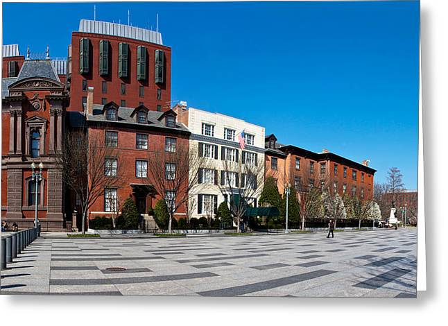 Bollard Greeting Cards - Buildings In A Row At Lafayette Square Greeting Card by Panoramic Images