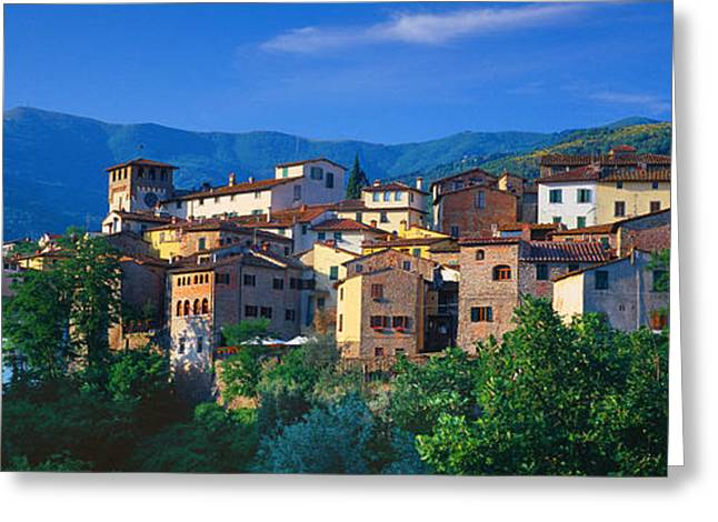 Residential Structure Greeting Cards - Buildings In A Town, Loro Ciuffenna Greeting Card by Panoramic Images