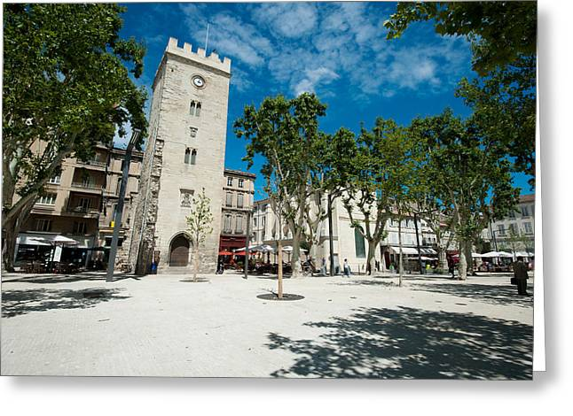 Vaucluse Greeting Cards - Buildings In A Town, Place Saint-jean Greeting Card by Panoramic Images