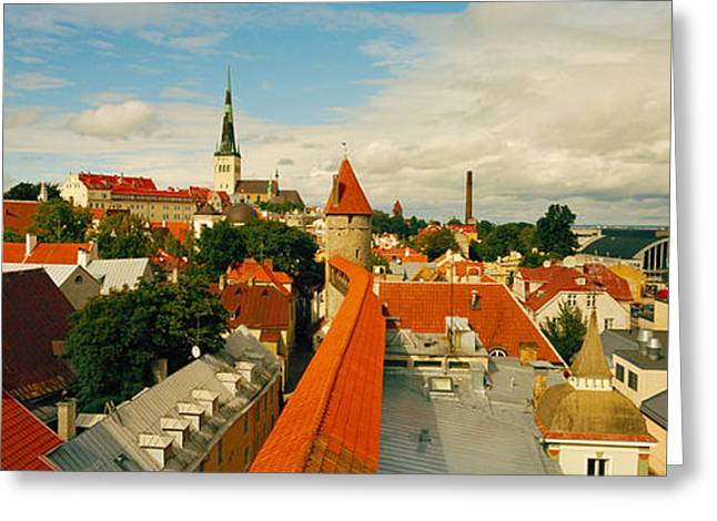 Estonia Greeting Cards - Buildings In A Town, Tallinn, Estonia Greeting Card by Panoramic Images