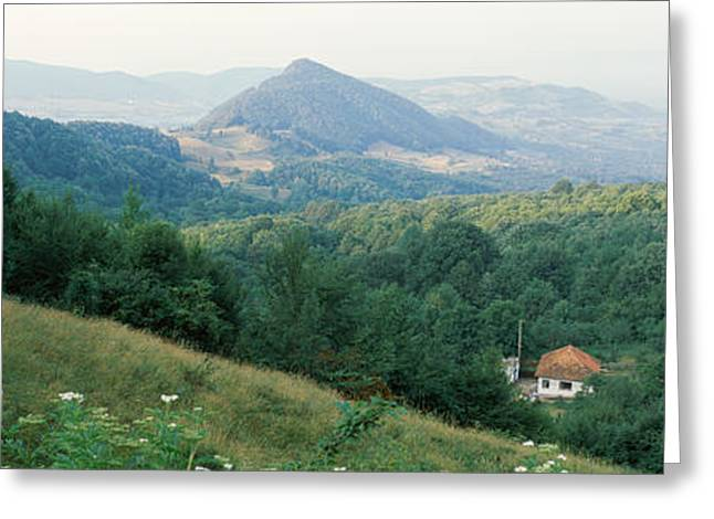 Romania Photographs Greeting Cards - Buildings In A Valley, Transylvania Greeting Card by Panoramic Images