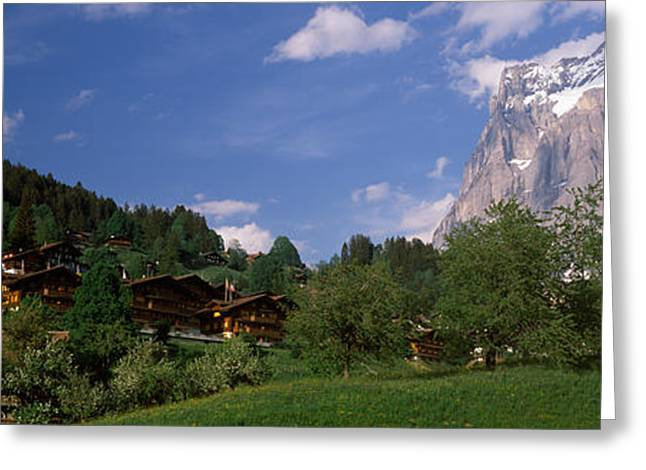 European Alps Greeting Cards - Buildings In A Village, Mt Wetterhorn Greeting Card by Panoramic Images
