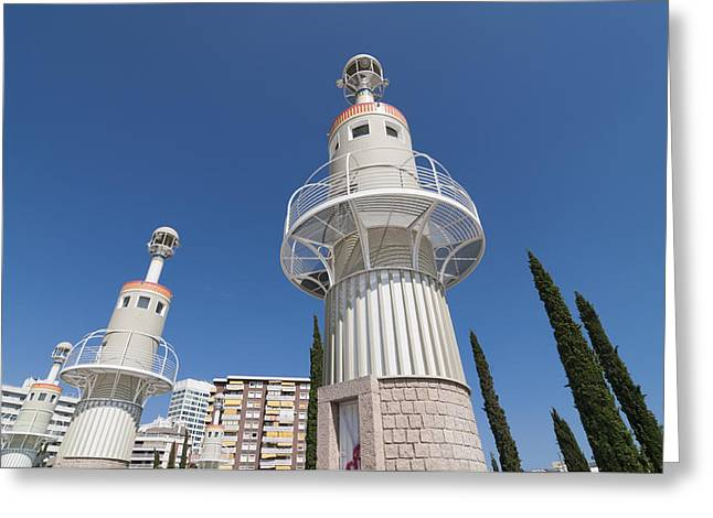 Catalunya Greeting Cards - Buildings in modern park in Barcelona Spain Greeting Card by Matthias Hauser
