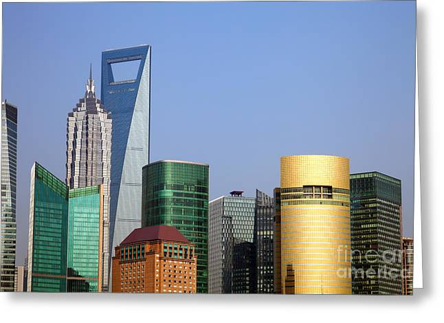 Developing Countries Greeting Cards - Buildings in Shanghai Pudong Greeting Card by Fototrav Print