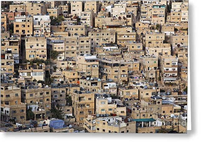 Levant Greeting Cards - Buildings in the city of Amman Jordan Greeting Card by Robert Preston