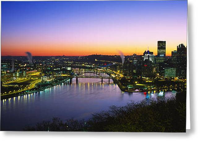 Pittsburgh Greeting Cards - Buildings Lit Up At Dawn, Pittsburgh Greeting Card by Panoramic Images