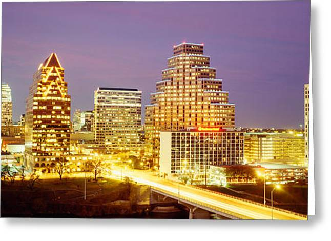 Austin Building Greeting Cards - Buildings Lit Up At Dusk, Austin Greeting Card by Panoramic Images