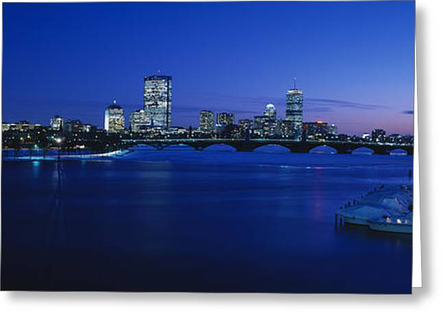 Charles River Photographs Greeting Cards - Buildings Lit Up At Dusk, Charles Greeting Card by Panoramic Images