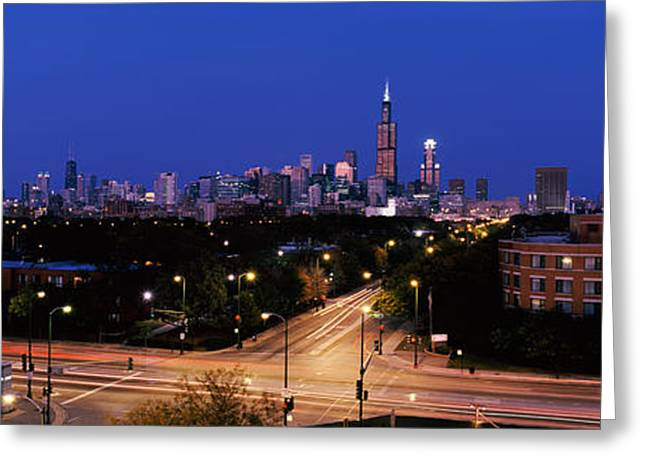 Crossroads Greeting Cards - Buildings Lit Up At Dusk, Chicago Greeting Card by Panoramic Images