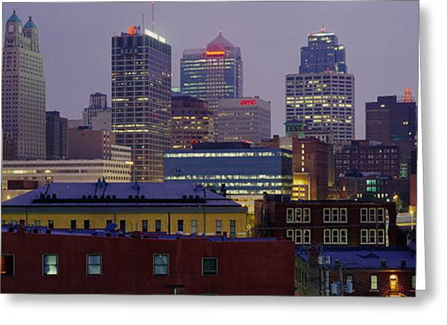 Kansas City Missouri Greeting Cards - Buildings Lit Up At Dusk, Kansas City Greeting Card by Panoramic Images