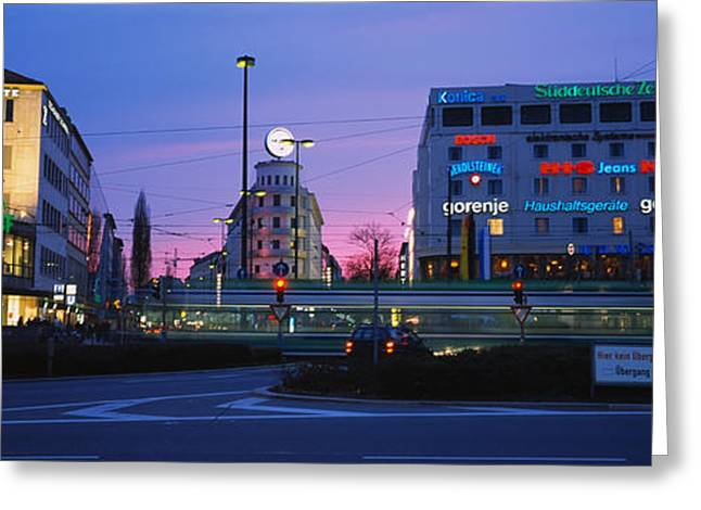 Bare Trees Greeting Cards - Buildings Lit Up At Dusk, Karlsplatz Greeting Card by Panoramic Images