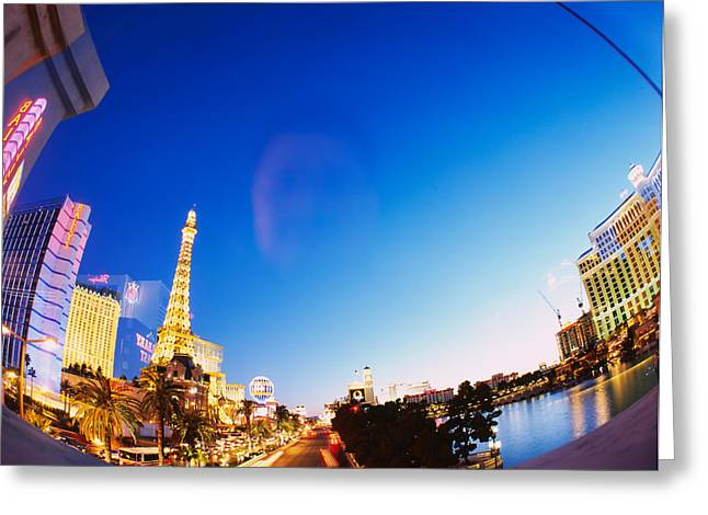 Fish Eye Lens Greeting Cards - Buildings Lit Up At Dusk, Las Vegas Greeting Card by Panoramic Images