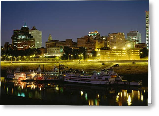 Tennessee River Greeting Cards - Buildings Lit Up At Dusk, Memphis Greeting Card by Panoramic Images