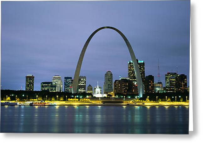 Mississippi River Scene Greeting Cards - Buildings Lit Up At Dusk, Mississippi Greeting Card by Panoramic Images