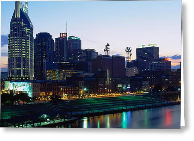 Tennessee River Greeting Cards - Buildings Lit Up At Dusk, Nashville Greeting Card by Panoramic Images