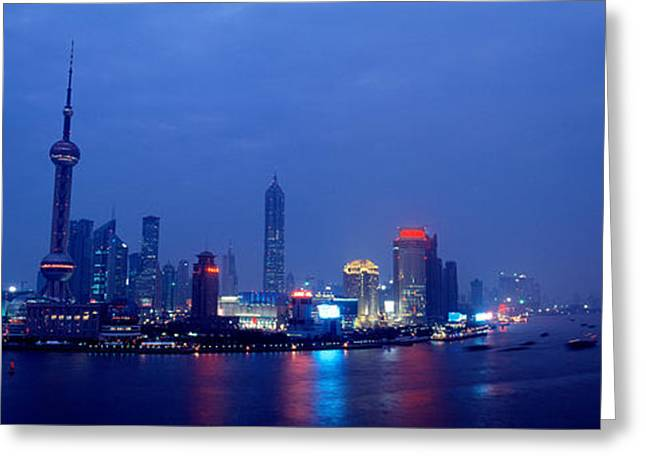Communications Tower Greeting Cards - Buildings Lit Up At Dusk, Shanghai Greeting Card by Panoramic Images