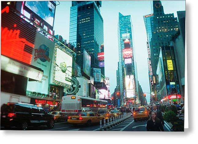 Commercial Photography Greeting Cards - Buildings Lit Up At Dusk, Times Square Greeting Card by Panoramic Images