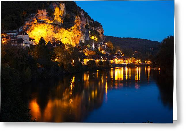Dordogne Greeting Cards - Buildings Lit Up At Evening, Dordogne Greeting Card by Panoramic Images