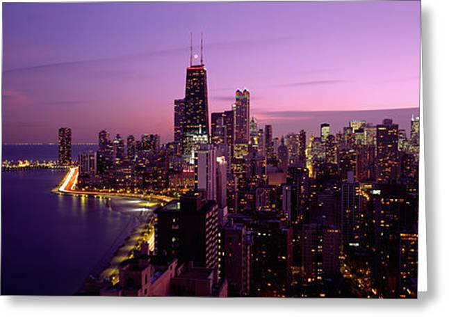 Electric Building Greeting Cards - Buildings Lit Up At Night, Chicago Greeting Card by Panoramic Images