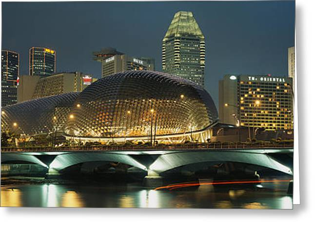 Esplanade Outdoors Greeting Cards - Buildings Lit Up At Night, Esplanade Greeting Card by Panoramic Images