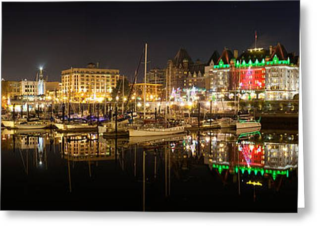Inner Reflections Greeting Cards - Buildings Lit Up At Night, Inner Greeting Card by Panoramic Images