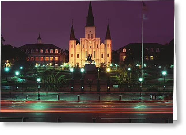 St. Louis Cathedral Greeting Cards - Buildings Lit Up At Night, Jackson Greeting Card by Panoramic Images