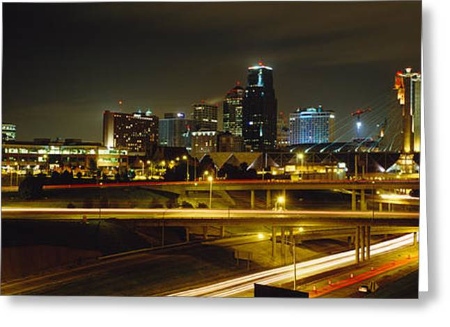 Buildings Lit Up At Night, Kansas City Greeting Card by Panoramic Images