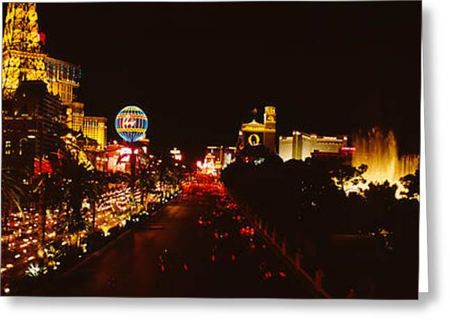 Locations Greeting Cards - Buildings Lit Up At Night, Las Vegas Greeting Card by Panoramic Images