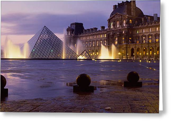 Pyramids Greeting Cards - Buildings Lit Up At Night, Louvre Greeting Card by Panoramic Images