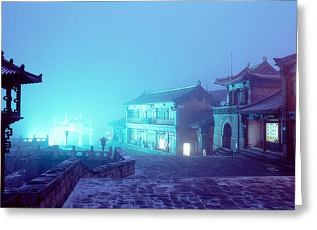 Tai Greeting Cards - Buildings Lit Up At Night, Mount Greeting Card by Panoramic Images