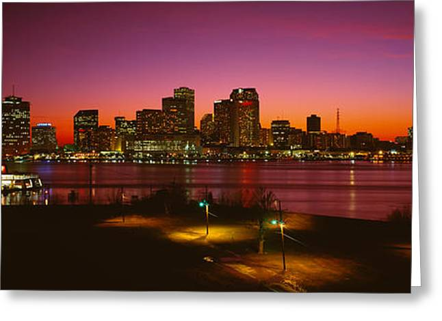Telephone Poles Greeting Cards - Buildings Lit Up At Night, New Orleans Greeting Card by Panoramic Images