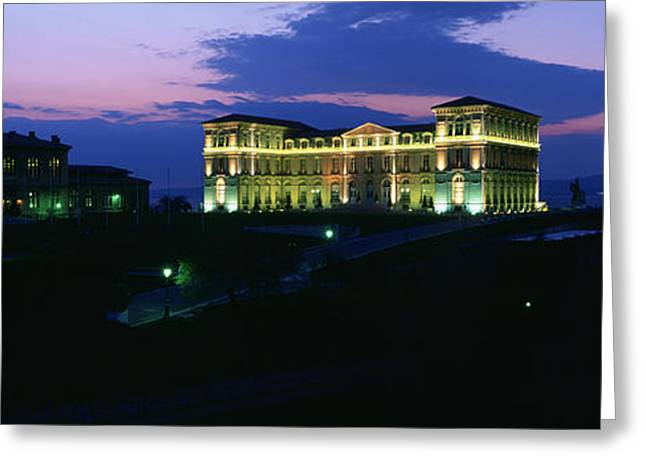 Illuminate Greeting Cards - Buildings Lit Up At Night, Palais Due Greeting Card by Panoramic Images