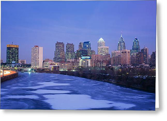 Schuylkill River Greeting Cards - Buildings Lit Up At Night Greeting Card by Panoramic Images