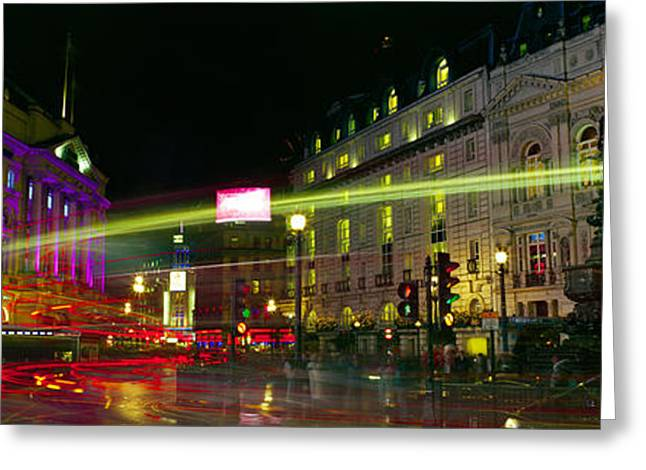 Traffic Greeting Cards - Buildings Lit Up At Night, Piccadilly Greeting Card by Panoramic Images