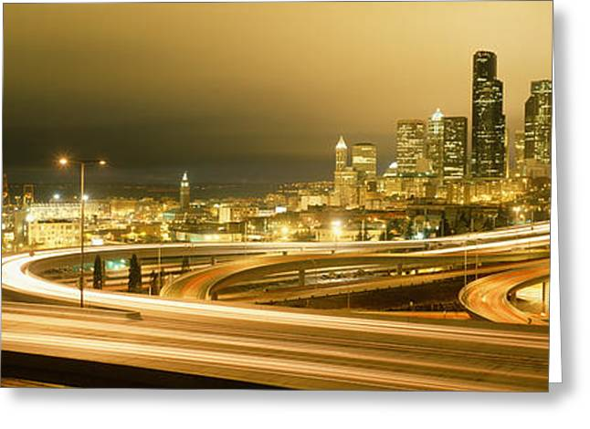 Night Scenes Greeting Cards - Buildings Lit Up At Night, Seattle Greeting Card by Panoramic Images
