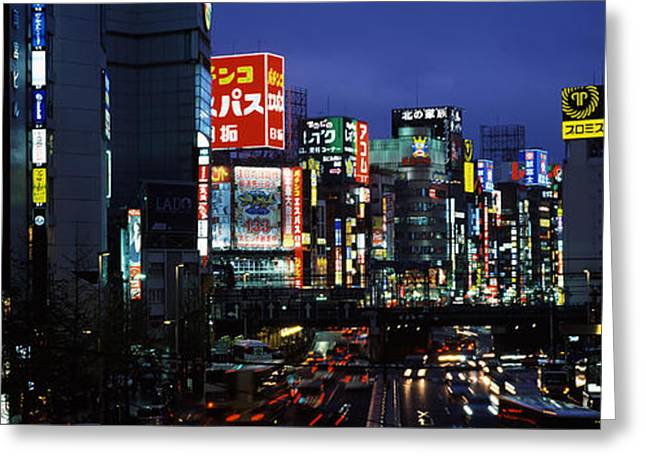 Commercial Photography Greeting Cards - Buildings Lit Up At Night, Shinjuku Greeting Card by Panoramic Images