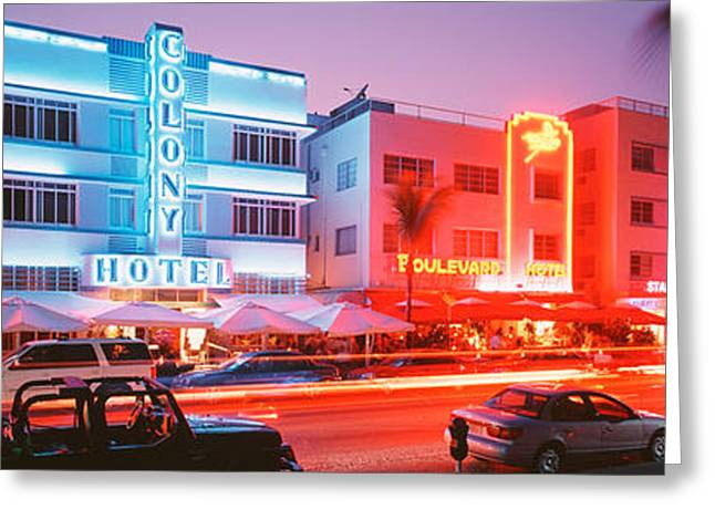 Beach Photography Greeting Cards - Buildings Lit Up At Night, South Beach Greeting Card by Panoramic Images