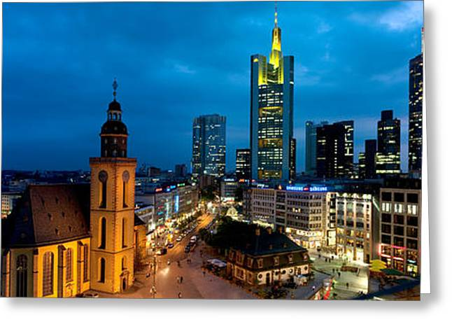 Place Of Business Greeting Cards - Buildings Lit Up At Night, St Greeting Card by Panoramic Images