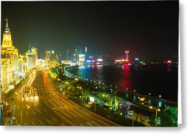 Headlight Greeting Cards - Buildings Lit Up At Night, The Bund Greeting Card by Panoramic Images