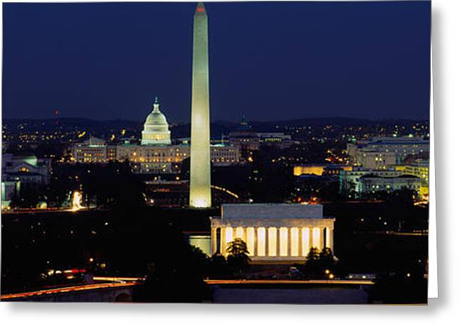 Building Exterior Photographs Greeting Cards - Buildings Lit Up At Night, Washington Greeting Card by Panoramic Images