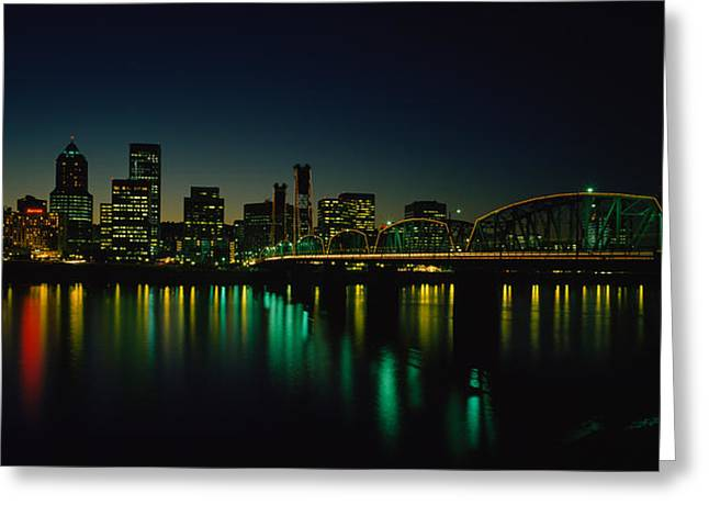 Willamette Greeting Cards - Buildings Lit Up At Night, Willamette Greeting Card by Panoramic Images