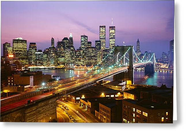 Night Scenes Greeting Cards - Buildings Lit Up At Night, World Trade Greeting Card by Panoramic Images