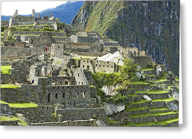 Andes Greeting Cards - Buildings On A Hill, Andes Greeting Card by Panoramic Images